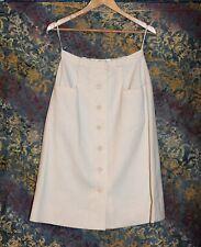 Vintage 70s Oscar De La Renta II Something Boutique White Button Front Skirt