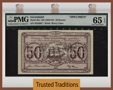 TT PK 20s ND (1953-67) GREENLAND 50 KRONER SPECIMEN PMG 65 EPQ GEM UNCIRCULATED!