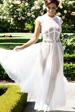 "WOMEN - Size ""Large"" Ladies White Sheer Lace Chiffon Evening Dress"