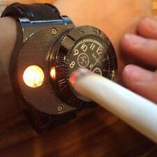Moda Militar 2 en 1 Recargable USB Reloj encendedor (a prueba de viento) - Marrón