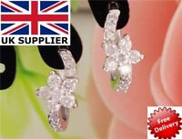 18K REAL WHITE GOLD FILLED FLOWER HOOP EARRINGS MADE WITH SWAROVSKI CRYSTALS UK