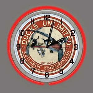 """19"""" Ducks Unlimited Wetlands Conservation Sign Red Double Neon Wall Clock"""