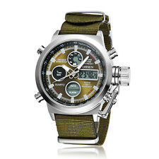 Ohsen Mens Military Green Canvas Water Proof Sport Digital Quartz Wrist Watches