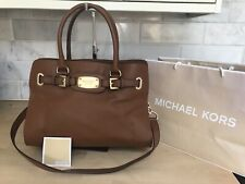 MICHAEL KORS LARGE TAN EAST WEST HAMILTON LEATHER TOTE SHOULDER SATCHEL BAG GOLD