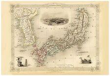 Old Vintage Japan and Korea decorative map Tallis ca. 1851