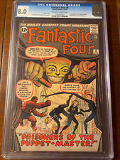 FANTASTIC FOUR #8 11/62 CGC 8.0 OWW FIRST PUPPET MASTER!! HIGH GRADE EARLY KEY!