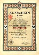 Gew. Centrum Berlin histor. Kuxschein 1909 Salzungen Anhalt Kali + Salz Bergbau