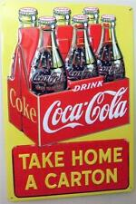 "Coca Cola Bottles Carton Retro Tin Sign Coke Ad 3D Embossed Home Wall Decor  17"""