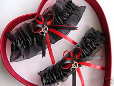 DOUBLE HEART Wedding Garter Set Black ON Black / Red