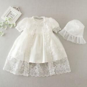Newborn Baby Girls Christening/Birthday/Prom White Party Princess Dress+ hat 7