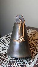 Vintage Brass Bronze Cattle Cow Bell Large Mykonos Greece Handmade Loud