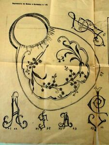 1915 EMBROIDERY SEWING PATTERNS Antique Tissue Paper Purse Swan Griffin Monogram