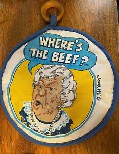 Wendy's Where's The Beef Kitchen - Vintage Potholder - Clara Peller