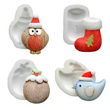 Silicone Moulds - Set Of Four Xmas - Pudding - Bird - Sock - Robin - Food Safe