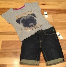 Gap Kids Girls Size 5 Outfit. Pug Puppy Shirt & Dark-Wash Denim Shorts. Nwt