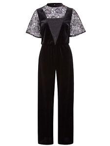 Ex Anthology BLACK Velour & Lace Wide Leg Jumpsuit Playsuit sizes 24 & 26