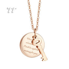 TT Rose Gold Stainless Steel Circle and Key Pendant Necklace (NF01Z)