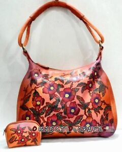 HAND-PAINTED GENUINE SOFT LEATHER SHOULDER SHANTINIKETAN BAG WITH COIN PURSE