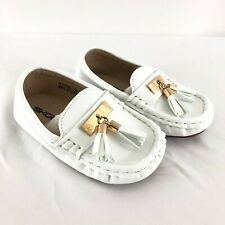 Skoex Toddler Boys Loafer Boat Shoes Faux Pebbled Leather Slip On White US 11