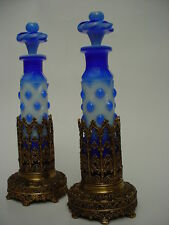 19thC  PAIR Porcelain William IV Bronze & Opaline  Glass Perfume Bottles