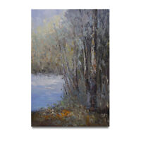 """NY Art - """"Creekside Woodlands"""" 24x36 Original Abstract Oil Painting on Canvas"""