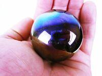 """TOE BREAKER 50mm (2"""") METEOR Metallic Oily Oil Slick Marbles glass ball HUGE"""