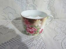 Vintage Mustache Cup Pink Floral Gold Trim