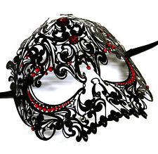 Noir Vénitien filigrane Crâne Masque bal masqué Halloween Ball W / rouge pierres