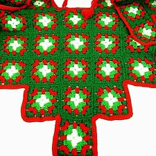 Vintage Christmas Tree Skirt Hand Crocheted Yarn GRANNY SQUARE Red & Green LARGE