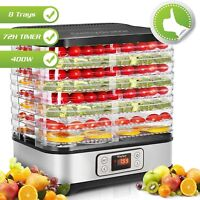 8 Trays Food Dehydrator Machine, 72H Digital Timer for Jerky/Meat/Beef/Fruits~