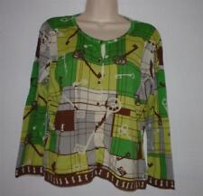 CABI Green Brown Antique Skeleton Key Cardigan Sweater Size M #861 100% Cotton