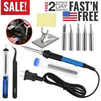 110V Electric Vacuum Solder Sucker Pump Temperature Gun Welding Iron Tools Blue