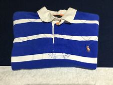 Polo Ralph Lauren Blue White Striped Pony Cotton Rugby Polo Shirt Mens Large L