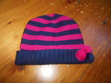 JACADI Paris 51 US 2T 3T 4T Navy & Fuscia Wool Blend Pom Pom Beanie Knit Hat