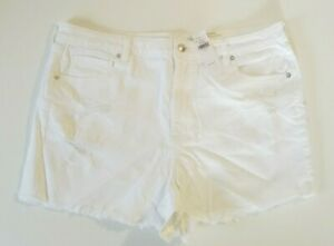 American Eagle Women's Super Stretch Mom White Ripped Jean Shorts Size 20 $49.95