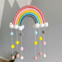 PomPom Rainbow Macrame Woven Wall Tapestry Hanging Art Wall Decor Decoration