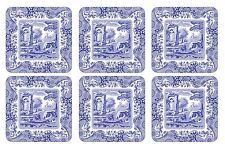 Set di 6 Classico Blu Italiano Floreale Bianco Sughero Sostenuto Sottobicchieri