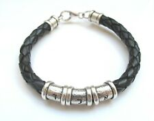 kabbalah men silver tube leather bangle bracelet sterling silver leather beads