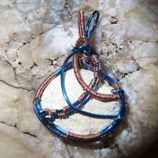Angel Agate Nodule in Blue & Copper Wire - Hand wrapped