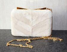 NWT J. MENDEL CREAM MINK FUR BOX CLUTCH PURSE EVENING BAG WITH GOLD CHAIN STRAP