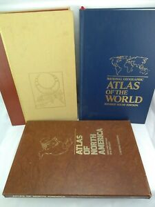 3 Vintage National Geographic Table Map Books World North America People/Places