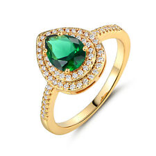 Fashion Pear Green Sapphire Emerald Gold Filled Women Lady Banquet Party Rings