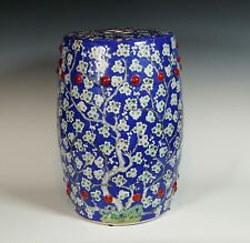 Chinese Hand Painted Garden Stool Blue With Prunus