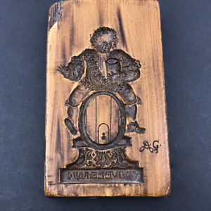 Vintage Wood Carved Cookie Mold King Bacchus on Wine Barrel Vive Le Roy w/Mount