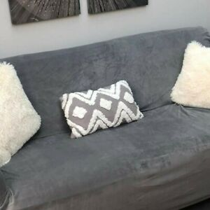 Grey and Ivory geometric cushion from Dunelm, new.