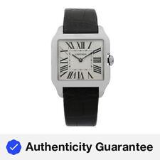 Cartier Santos Dumont 18K Blanco Oro Plata Cuadrante Cuarzo Reloj Unisex W2009451