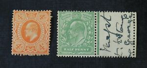 CKStamps: Great Britain Stamps Collection Scott#144 Crease 146 Edward Mint H OG