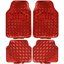 carXS Red Metallic Rubber Floor Mats Set 4pc Car Interior Set Auto Accessories