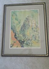 """MCM SIGNED LITHO JEAN THEOBALD JACUS""""MOUNTAIN CITY"""" FRAMED ABSTRACT PAINTING"""