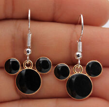 Black & Gold Mickey Mouse Earrings 925 silver plated Hooks + GOLD hoops women